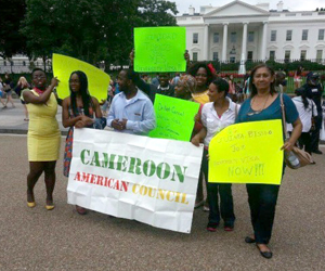 African immigrants rally in front of the White House on April 3 to support keeping the Diversity Visa. Roughly 25,000 Africans come to the US each year through the program. Photo/Cameroon American Council.