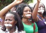 Ugandans protesting curbs on free speech.