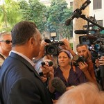 Jesse Jackson was eager to talk to the media after secret talks. Photo/Butch Wing/RainbowPUSH.