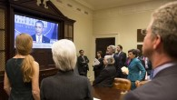 Cabinet members look on Monday as Obama discusses government shutdown. White House Photo/David Lienemann.