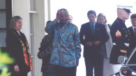 Former South African President Nelson Mandela arrives for his last visit to the White House in 1991. Photo/Roy Lewis.