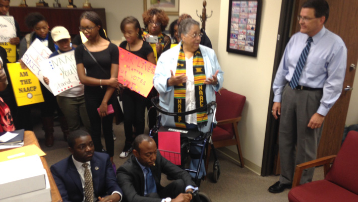 NAACP leaders stage sit-in of GOP office over voting rights