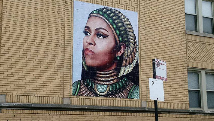 Chicago artist creates a mural of Michelle Obama and nobody's happy